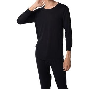 カシミヤ100%クルーネック八分袖シャツ ブラック メンズニット 柔らかく暖かい