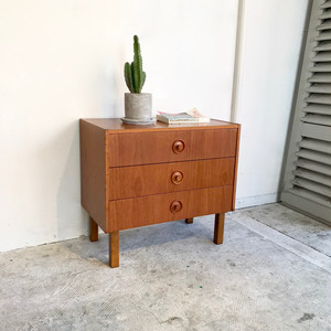 70's Vintage Teak Wood Drawer Chest オランダ