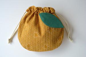 ポンっと入れてバッグの中をすっきりお片付けシンプルが使いやすい・巾着袋 ゆず 柚子 柑橘