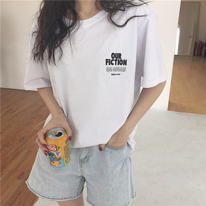 【トップス】ルーズ韓国風シンプルアルファベット半袖ラウンドネックTシャツ