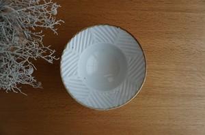 砥部焼/5寸縁付鉢/鎬ヘリンボーン/皐月窯