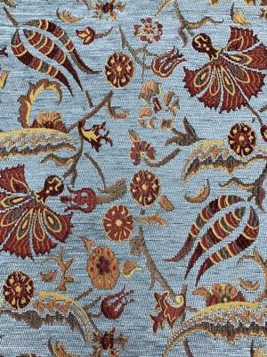トルコ生地 お花柄 ペールブルー