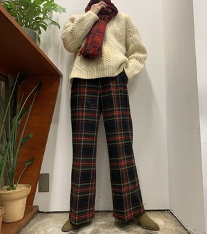 1960s MADE IN USA L.L.Bean tartan check wool pants 【14】