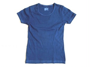 ◆100%自然素材 天然灰汁発酵建て 藍染◆ オーガニックコットン レディースTシャツ