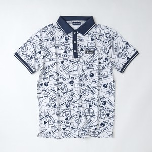 【メンズ】ロゴMIX総柄ポロシャツ ホワイト