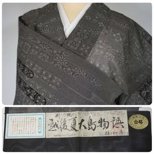 夏大島【夏】証紙付き ヱ霞 正絹 手織り グレー  254