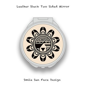 Leather Stuck Two Sided Mirror / Smile Sun Face Skull Design 002