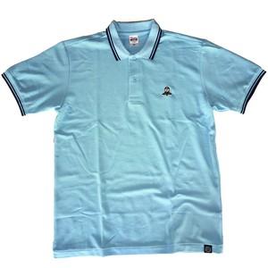 【LET'S KENDO‼刺繍ロゴ入りラインポロシャツ/サックス】