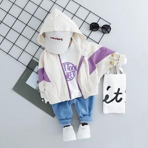 【子供服】アルファベットプリントトップス/配色ゴムアウター/パンツボーイズ3点セット22572994