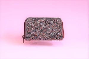 ビーズ刺繍 財布 (#99 青海波 赤)
