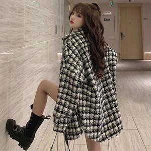 【アウター】人気爆発ファッション折襟切り替えチェック柄シングルブレストコート35090700