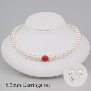 丹頂85E-set(Tanchou)【Akoya8.0-8.5mm/Coral9mm】Necklace & Earrings set