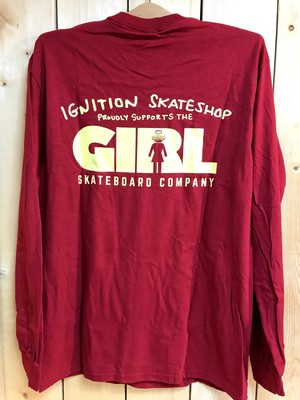 【クリックポスト200-対応】IGNITION SKATESHOP x GIRL L/S T-SHIRTS [SUPPORT-RED]