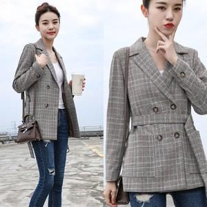 チェックコート グレンチェック テーラードジャケット レディース アウター 上品 きれいめ ウエストベルト ミディアム 大きサイズ