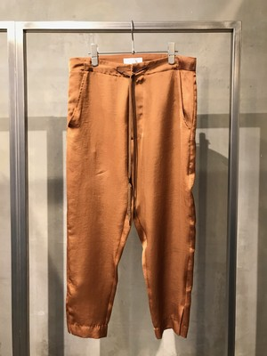 T/f satin organdy side slit narrow tapered pants - mocha