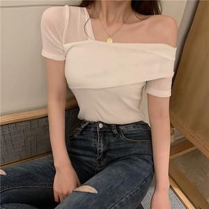 【トップス】エレガント大人っぽく切り替えワンショルダーセクシーTシャツ
