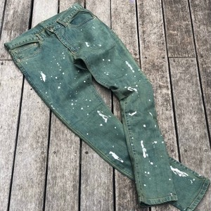 "LEFLAH / レフラー | 《予約受付中》"" PAINT OVERDYE SKINNY DENIM "" kahki"