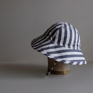 帽子 / しましま 綿麻 高密度ウェザークロス 【 生成り と 紺 】テントな帽子 リボンタイプ / cotton ramie hat 【 ecru & navy blue 】ribbon