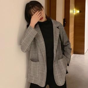 【アウター】通勤長袖簡約・シンプル折襟ボタンチェック柄スーツジャケット