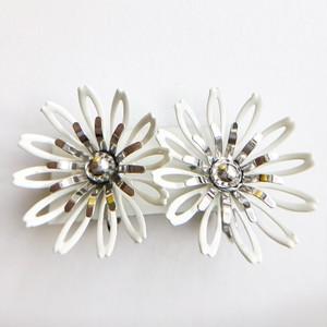 """""""Sarah Coventry"""" white flower earring[e-1187]"""