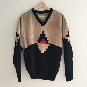 Leather mixed design Knitwear