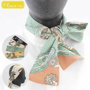 ペイズリー柄リボン細スカーフ