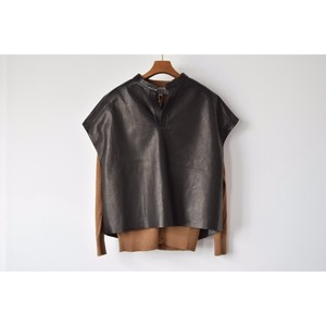 Simva108-0002-BRBK Leather/Cotton Tunic BrownBlack