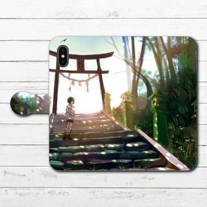 #042-033 手帳型iPhoneケース ・ 手帳型スマホケース 《蝉時雨》 作:澄まし オリジナルデザイン  ノスタルジー系 綺麗系 iPhoneX対応 全機種対応 Xperia ARROWS AQUOS Galaxy HUAWEI Zenfone