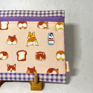 ふわふわポーチ「コーギーちゃん」ピンク<チェック>× 紫