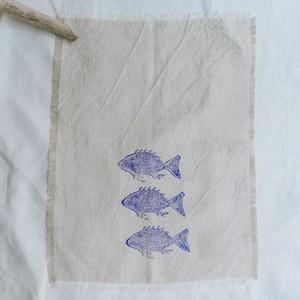 Tea towel blue fish ティータオル ブルーフィッシュ