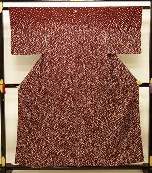 ☆21616☆身丈:154 裄:62.5cm 中古美品 絵羽小紋 扇子模様 一つ紋付き