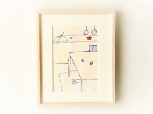 「キッチンと犬」 イラスト原画 ※額縁入り