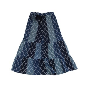 季刀 Ji Dao Skirt  - Diamond Sashiko Gauze / MIAO BLUE
