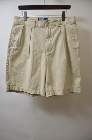 【w36】POLO RALPH LAUREN ポロラルフローレン CLASSIC FIT PLEATED CHINO SHORT チノタックショーツ KHAKI 400613190612