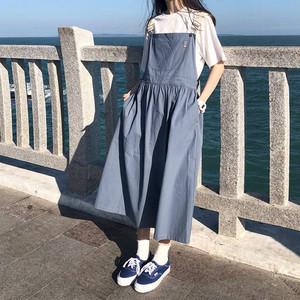 ジャンパースカート ストラップ ハイウエスト おしゃれ 体型カバー シンプル 春 夏 i1276