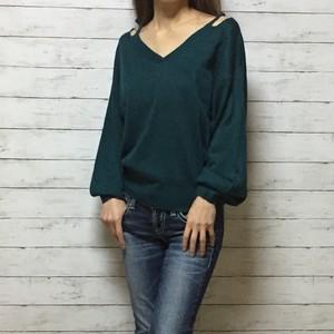 open shoulder ニット セーター(blue green)
