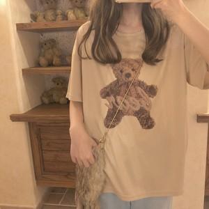 06TA089 メッシュ素材 テディベアTシャツ ベージュ 半袖 くま ゆめかわ ガーリー 2019春夏 韓国ファッション オルチャン トレンド プチプラ かわいい おしゃれ