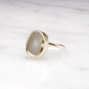 ROUGH BIG STONE RING GOLD 007