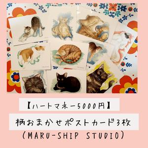 【ハートマネー5000円】柄おまかせポストカード3枚(MARU‐SHIP STUDIO)