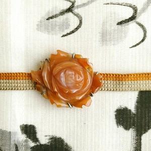メノウ 薔薇 帯留・帯締めセット