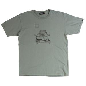 後染めプリントTシャツ:グリーングレイ