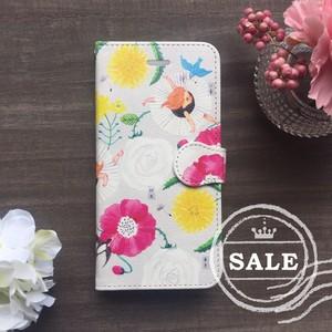 iPhoneXのみ限定SALE♪ 帯付き手帳型スマホケースカバー「花鳥のダンス」