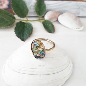 【11号】brass ring -abalone shell-