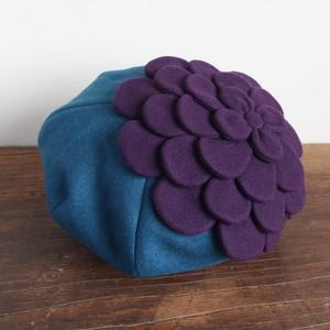 お花ベレー/青に紫の花