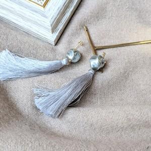BlueSilver Pearl&Vintage tassel pierce