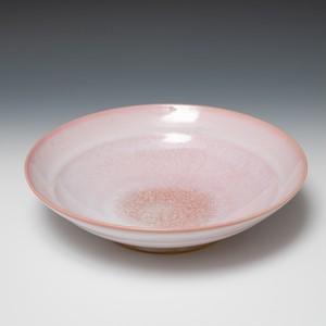 硝子釉麺鉢 ピンク