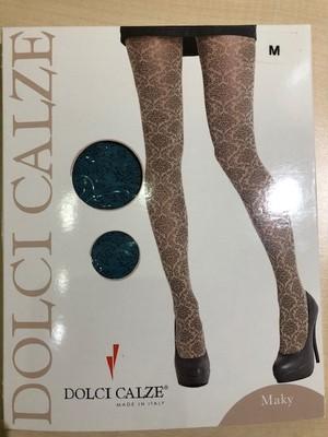 DolciCalze (ドルチカルゼ)イタリア製 05-2950  黑xベース色ジャガード編みタイツ