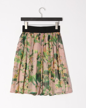 シフォン風スカート グリーン ★★★(618018)