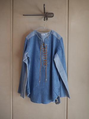 NOWOS / Denim lace-up blouse (Indigo)
