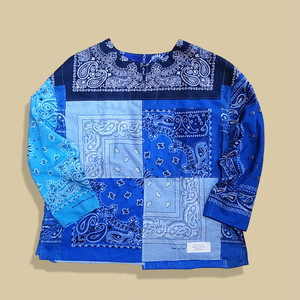 Working Class Heroes Remake Bandana Key Neck Shirts -Blue Mix202